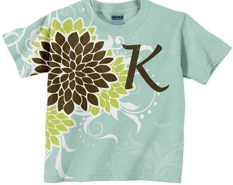 Girl's Monogram Shirt, Mums Top in Aqua, Lime and Brown,