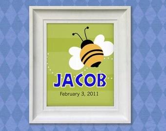Nursery Decor Print - Bumble Bee 8x10 Personalized Baby Room Art