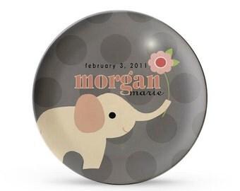 Personalized Plate,  Elephant Girl's Baby Name, Melamine Dinner Plate