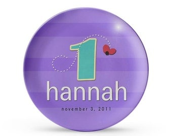 Personalized Plate, Child's Purple Monogram Melamine Birthday Plate, Dinner Party Dish