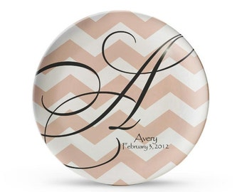 Personalized Plate, Chevron Melamine Plate, Personalized Monogram Plate