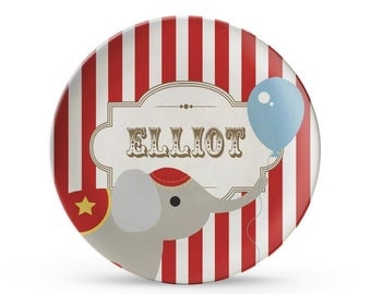 Personalized Plate, Personalized Circus Plate, Melamine Carnival Birthday Party, Elephant Plate