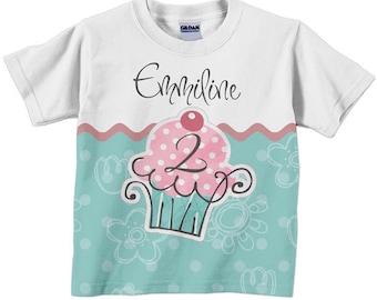Cupcake Birthday Shirt, Personalized Girls T-Shirt, Childrens Clothing