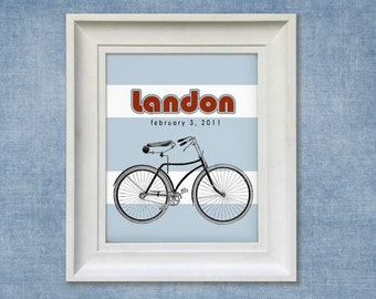 Childrens Art Print - Personalized Bicycle 8x10 Baby Room Decor