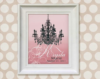 Childrens Art Print - Personalized Pink Chandelier 8x10 Baby Room Decor