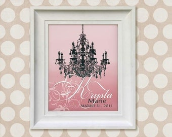 Childrens Art Print - 11x14 Personalized Pink Chandelier Baby Room Decor