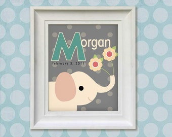 Childrens Art Print - Personalized Pink Elephant 8x10 Girl's Baby Room Decor