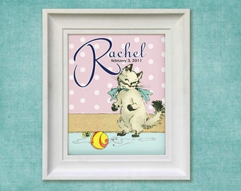 Childrens Wall Art- Personalized Retro Kitten 8x10 Print Baby Room Decor