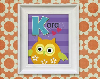 Childrens Art Print - Personalized Orange Owl Monogram 8x10 Baby Room Decor