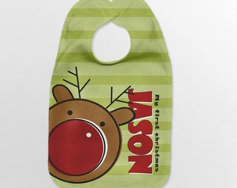 Personalized Baby Bib - Reindeer Christmas Infant  Holiday Bibs