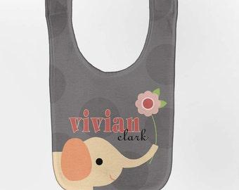 Elephant Baby Bib, Personalized Custom Baby Girl Bibs, Personlized Elephant Bib, Personalized Baby Bib