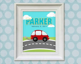 Nursery Art Print - Little Red Car 8x10 Personalized Baby Room Decor