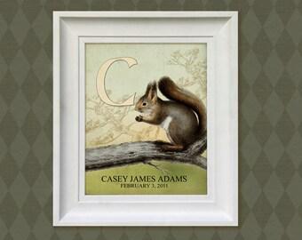 Squirrel Art Print - 11x14 Personalized Woodland Nursery, Alphabet Children's Room Decor