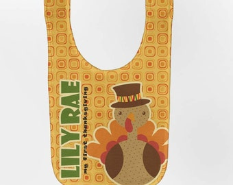 Thanksgiving Baby Bib - Personalized Turkey, Custom Infant Bibs