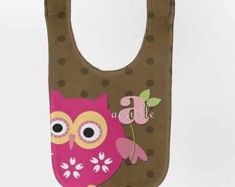 Owl Baby Bib - Personalized Girl's Brown Dots Monogram Infant Bib