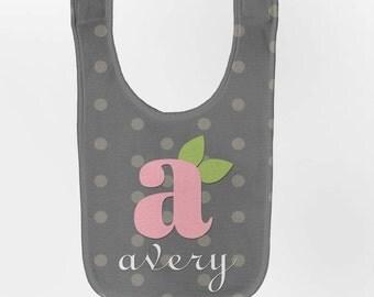 Monogram Baby Bib - Personalized Infant Girl Gray Polka Dot Bib