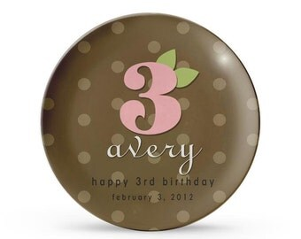 Personalized Plate, Birthday Plate, Personalized Brown Polka Dot, Melamine Child's Cake Plate