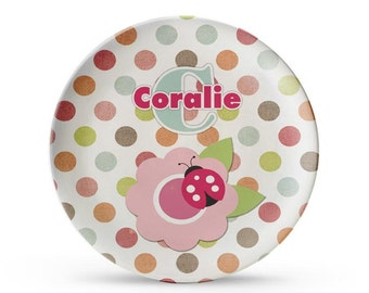 Personalized Plate, Pink Polka Dot Plate, Personalized Ladybug Child's Melamine Cake Plate