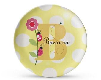 Personalized Plate, Ladybug Plate, Personalized Child's Melamine Monogram Cake Plate
