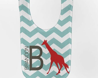 Chevron Baby Bib - Personalized Giraffe Monogram, Custom Infant Bibs