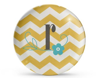 Personalized Plate, Monogram Chevron Plate, Personalized Melamine Plate