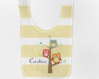 Personalized Owl Tree Bib - Baby, Custom Infant Bibs