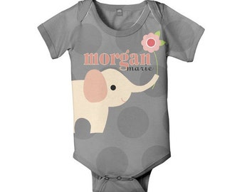 Personalized Baby Bodysuit, Elephant Polka Dot, Custom Infant Bodysuits
