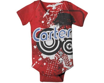 Personalized Baby Boy Bodysuit - Retro Red Circles, Custom Snapsuit Onepiece, Baby Boy One Piece, Clothing