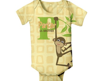 Personalized Monkey Baby Bodysuit, Monogrammed Boy's Custom One Piece Clothing, Little Brother Onepiece Outfit