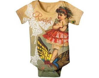 Fairy Baby Bodysuit, Personalized Infant Girl Romper One-Piece