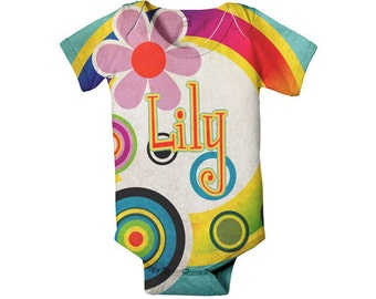 Personalized Baby Bodysuit, Mod Circles Custom Girls One-Piece