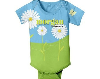 Personalized Baby Bodysuit, Daisy Field Custom One-Piece Baby Clothing