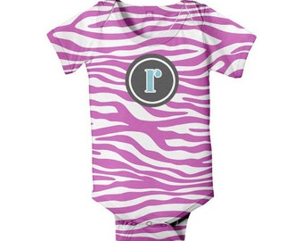 Pink Zebra Monogram Bodysuit, Monogrammed Baby Girl One-Piece