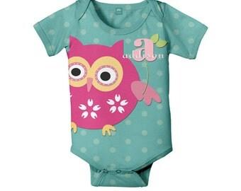 Personalized Owl Bodysuit,  Monogram Baby Romper Custom One-Piece