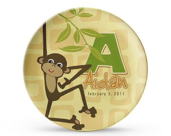 Personalized Plate, Children's Monkey Plate, Personalized Jungle Birthday, Zoo Party Melamine Plate,