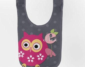 Personalized Pink Owl Baby Bib