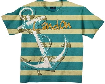 Boys Nautical T-Shirt, Personalized Anchor Childrens Clothing