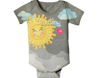 Sunshine Bodysuit, Personalized Baby Girl Clothing, Sun Birthday One-Piece