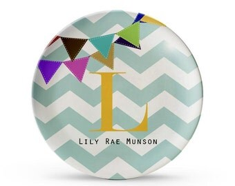 Personalized Plate, Chevron Banner Plate, Personalized Children's Monogram Melamine Party Plate