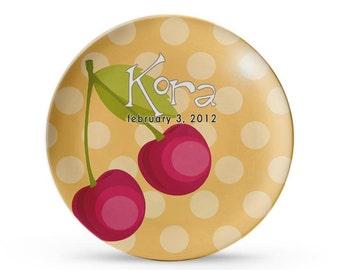 Personalized Plate, Cherry Children's Melamine Birthday Plate