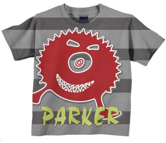 Boy's t-shirt, Doodle Monster, Personalized Boys Name Tee Shirt