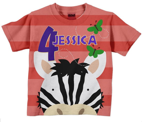 Personalized Zoo Birthday Shirt, Girl's Zebra Number Name Top, Children's Clothing