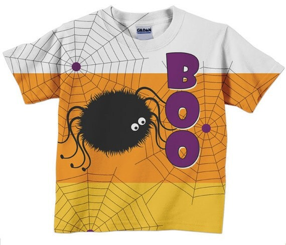 Boo Spider Shirt,  Personalized Candy Corn Childs Tshirt, Halloween Costume