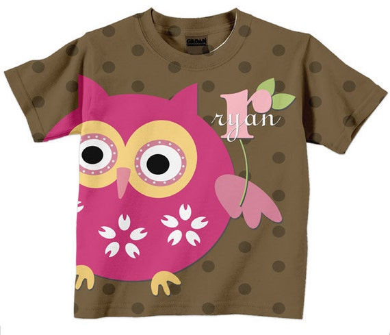 Girls Owl Shirt - Personalized Brown Polka Dots Top, Monogrammed Children's Clothing