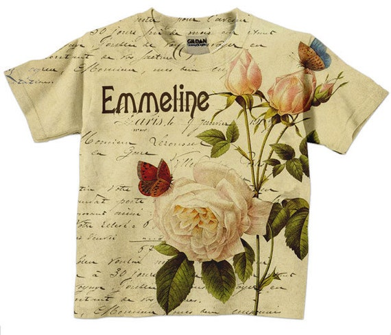 Girls T-Shirt  - Personalized French Rose Botanical Shirt, Childrens Clothing