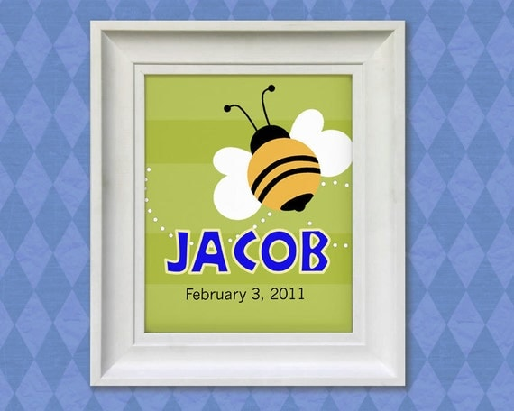 "Bumble Bee Art Print - 11x14""  Personalized Baby Room Nursery Decor"