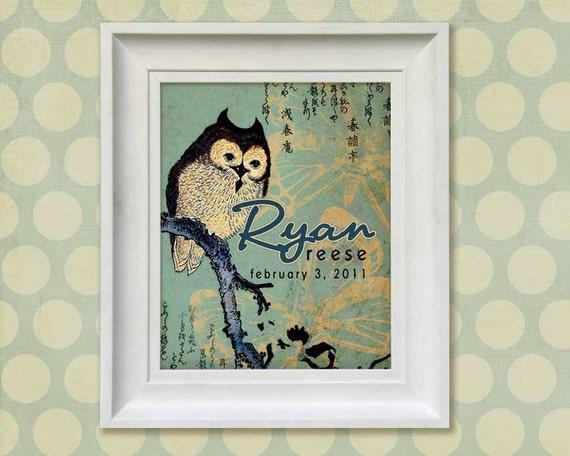 Nursery Art Print - Asian Owl 11x14 Personalized Baby Room Decor