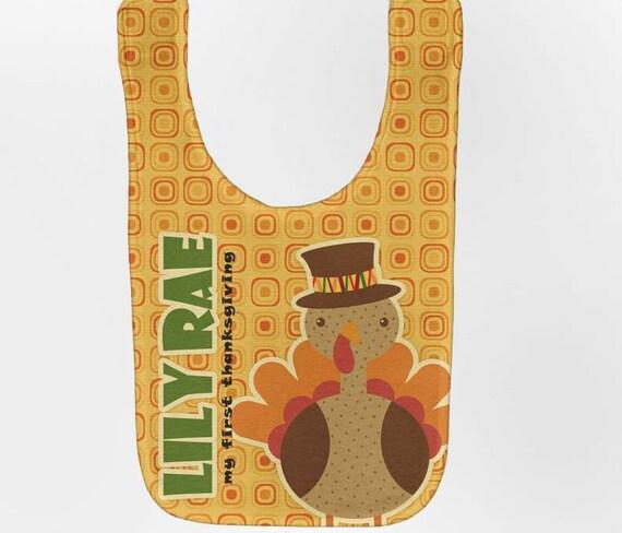 Thanksgiving Baby Bib - Personalized Turkey, Custom Infant Bibs