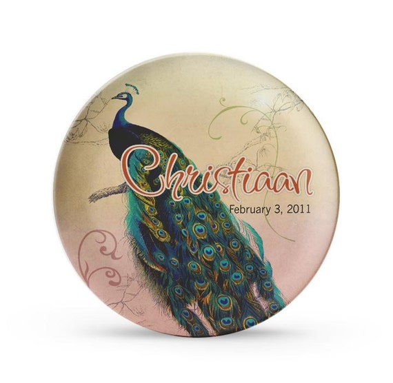 Personalized Plate, Peacock Plate, Personalized Child's Melamine Cake Plate