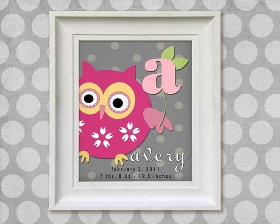 Childrens Owl Art Print - Personalized  8x10 Gray Polka Dots Baby Room Decor